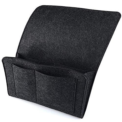 MUXItrade Filz-Bett-Caddy-Organizer Betttasche Sofa Hängeaufbewahrung für Handy, iPad, Brille, Buch, Fernbedienung, 4 Taschen & Seitenloch für Aufladungskabel 27 x 22cm