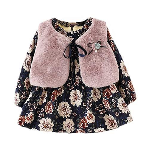 (Baby Mädchen Kleider, Allskid Winter Langarm Warm SAMT Blumen Kleid Flauschige Weste Zweiteilig Prinzessin Girls Dress)