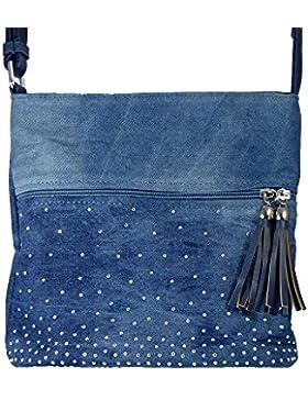Süße Jeans Style Umhängetasche mit 2 Troddlen und kleinen Steinchen/Nieten - Glitzereffekt - Maße ohne Henkel...