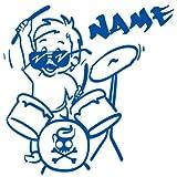 Baby Autoaufkleber mit Namen - Babyaufkleber Auto Junge - Drummer Bub - (Höhe 15cm) - Baby on Board Aufkleber - Babysticker mit Wunschnamen - von stick-us