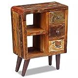 SHENGFENG Moderne Bunte Kommode mit 2 Fächern und 3 Schubladen, Kommode, Beistelltisch, Holz, recycelt, Maße: 60 x 30 x 80 cm
