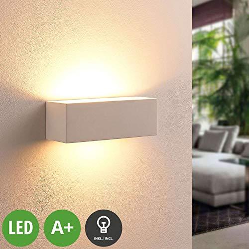 Lindby LED Wandleuchte, Wandlampe Innen 'Tjada' dimmbar (Modern) in Weiß aus Gips/Ton u.a. für Wohnzimmer & Esszimmer (1 flammig, G9, A+, inkl. Leuchtmittel) - Wandstrahler, Wandbeleuchtung