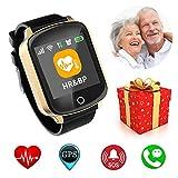 Miglior Natale Regali per Genitori Nonni ~ SOS Smartwatch con Fitness GPS Tracker Pressione Sanguigna e Cardiofrequenzimetro~ IP68 Impermeabile Orologio da Polso per iPhone Android Uomo Donna,d'oro