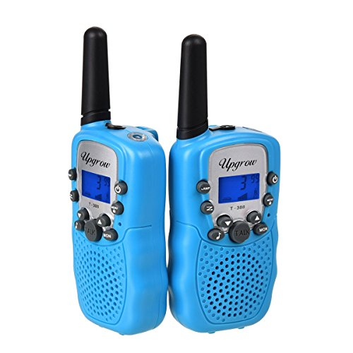 funkgeraete fuer kinder Upgrow 2x Walkie Talkies Set Kinder Funkgeräte 3KM Reichweite 8 Kanäle mit Taschenlampe Walki Talki Kinder (blau)