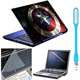 Ramiya- 4in1 Laptop Accessories Combo Kit > Laptop Skin Stickers 15.6 inch, with Laptop Screen Protector, KeyGuard and USB Light