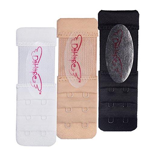 DoHope Bra Extender BH-Verlängerung für BHs mit 2 Haken in 3 Reihen Damen BH-Erweiterung Schmal (weiss, schwarz, nackt) (3 Stücke weiss, schwarz, nackt - 1.27cm (1/2inch) Breiten zwischen den Haken) (Aus Mutterschafts-bh Mikrofaser)