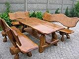 Rustikale Sitzgruppe aus Eiche für den Garten - Langer Tisch aus Holz und 2 Bänke mit Rückenlehne