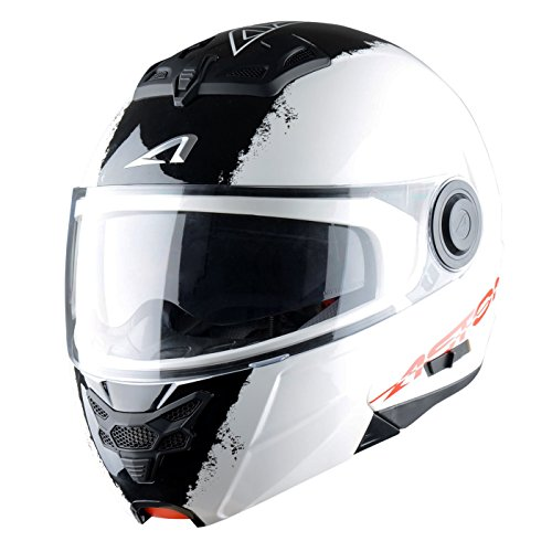 Astone Helmets, Casco modular, color Blanco (Stripes Blanc), talla L