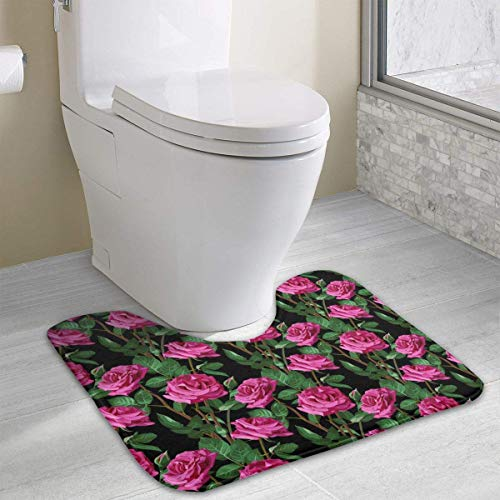 Uosliks Non-Slip Soft Flannel Pink Rose Green Leaf Floral Toilet Contour Bathroom Rug with Water Absorbent Machine Washable 15.7x19.3 Inch U-Shaped -