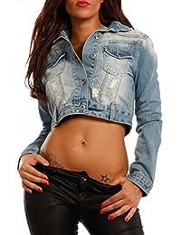 Denim Jacket Jeans Jacke Stylish Blouson Destroyr & Pailletten