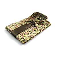By Neki Mens Paisley Print Satin Feel Dress Retro Mod Shirt with Tie S M L XL XXL 3XL 4XL (4XL, Green)
