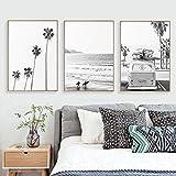 xwwnzdq 3 Pièce Plage Tropical Paysage Affiches Affiches Palm Beach Surf Mur Art Toile Peinture Noir Et Blanc Photographie Photos pour La Décoration Intérieure
