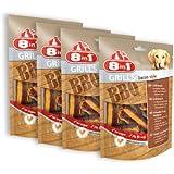 8in1 Grills Bacon Style, Belohnung für Hunde mit hochwertigem Hähnchenfleisch und würzig-aromatischem Grillgeschmack in Bauchspeckform, 4 Packungen (4 x 80g)