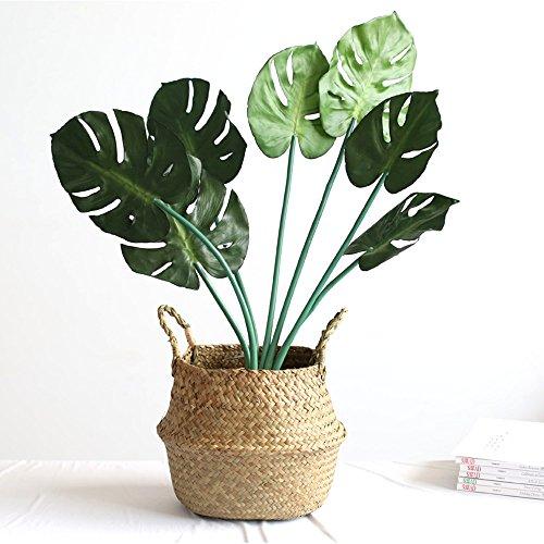 Faltbar Handwerk Weben Bauch Korb, WCIC Natürlich Seegras Lagerung Oganiser Pot Blume Vase Hängend Korb Mit Griff (Kleine Größe 7,87