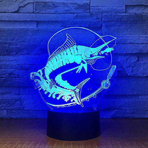 Angeln 3D Led Licht Stereo Acryl Decor Nacht Lampe Fisch Essen Köder Stimmung Beleuchtung 7 Farben Ändern Illusion Geburtstagsgeschenk Kinder Spielzeug -