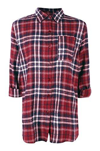 Femmes Baie Hannah chemise surdimensionnée à carreaux aspect brossé Baie