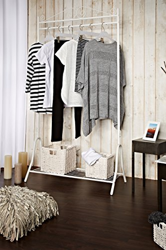 Garderobe Metall weiß 46 x 90 x 172 cm | Stahlgestell | Schuhablage