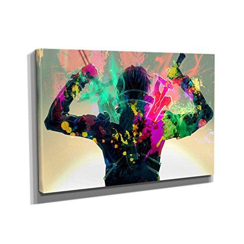 Nerdinger Kirito Splash - Kunstdruck auf Leinwand (90x60 cm) zum Verschönern Ihrer Wohnung. Verschiedene Formate auf Echtholzrahmen. Höchste Qualität. - Japan Anime-kunst-plakat