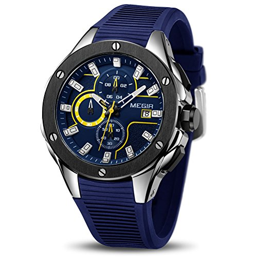 Herren Uhren Chronograph Analog Quarzuhr Männer Wasserdicht Sport Armbanduhr (Blau)