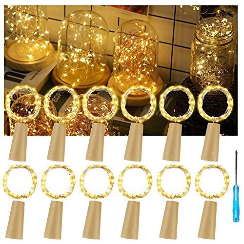 12x 20 LED Flaschen-Licht, Vegena Kupferdraht Cork LED Lichterketten Nacht Licht Weinflasche Flaschenlicht Sternenlichter für Hochzeit Party Romantische Weihnachten Halloween Hochzeit Deko Warmweiß