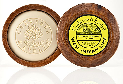 Crabtree & Evelyn West Indian Lime Shave Soap in a Bowl, 1er Pack (1 x 100 g) -