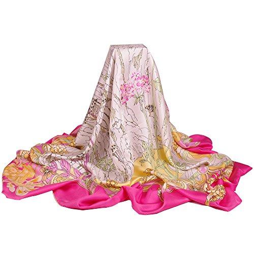 IRRANI 100% écharpe en soie square châle envelopper avec des bords roulés à la main Rose
