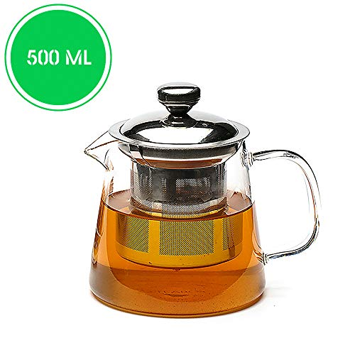 Teabox Urban Glass Teapot with Removable Stainless Steel Infuser and Lid for Loose Leaf Tea   Microwave Safe Borosilicate Glass   500 ml