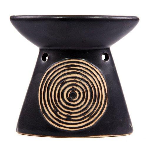 Puckator OB94 - Diffusore per oli essenziali con cerchi concentrici, in ceramica, colore nero, 5,5 x 11 x 10 cm