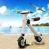 YYD Mini Bicicletta elettrica Pieghevole - Piccola Batteria Auto per Uomo e Donna Ultra Leggera Portatile Batteria al Litio per Adulti Scooter,White