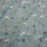 Stoff Baumwolle Jersey Meterware opal graugrün weiß Blumen Blätter Kleiderstoff