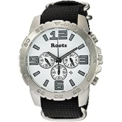Roots Men's 'Core' Quartz Stainless Steel and Nylon Casual Watch, Color:Black (Model: 1R-LF604WH7B)