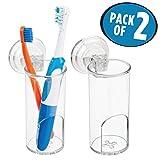 mDesign porte brosse à dent à ventouse pour la salle de bain (lot de 2) – grand verre à dent et porte rasoir en plastique – pour brosse à dent manuelle & électrique et rasoir – transparent