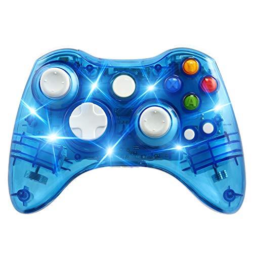 Kabelloser Controller für Xbox 360 Konsole & PC Windows 7/8/10, transparente Hülle, Schlüsselverbesserung, 3 Modi, blendende LED transparent/blau - 360 Led Blau Controller Xbox