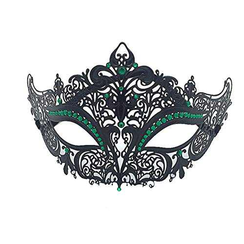 VJUKUBCUTE Sexy Women Es Black Vintage Masquerade Ausgefallene Kleid Masken Glänzende Strasssteine Venezianischen Eyemask-Halloween Mardi Gras Party Maske Halloween Women Cosplay Fashion,DarkGreen