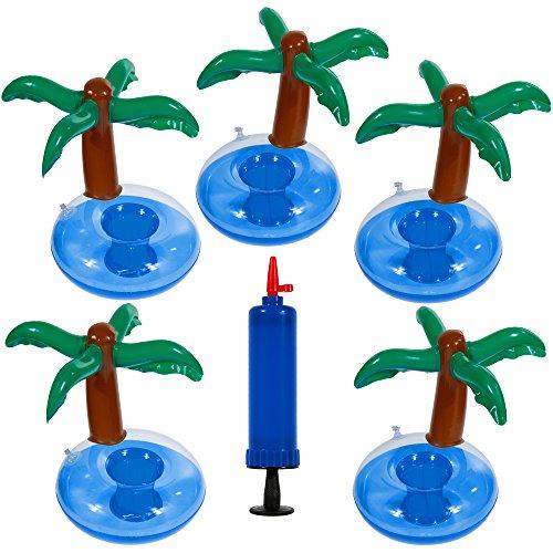 Goldge 5pc Getränkehalter Palme mit Luftpumpen ,Aufblasbare Insel Getränkehalter Flaschenhalter luftmatratze Palme
