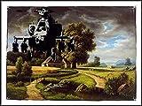 Banksy imagenation 'helicóptero en el aeropuerto' - 60 cm X 80 cm Diseño de láminas autoadhesivas papel de cartel