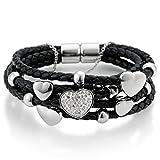 gooix 414-0893 Damen Armband Herz Edelstahl Leder schwarz Weiß Zirkonia 18 cm