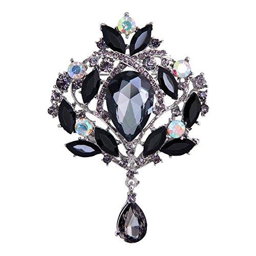 Contever® Elegante Strass Corona Imperiale Spilla Fiore Perno alla moda Giacca Clip (Nero)