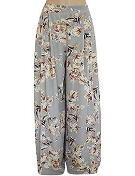 Mujer Pantalones Largos con Estampado Floral Elasticidad Cintura Alta con Pierna Ancha Palazzo Pantalón Baggy...