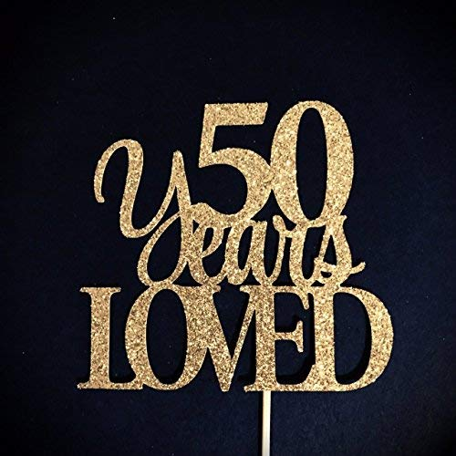 (50 Years Loved Cake Topper, 50 Cake Topper, 50th Anniversary Cake Topper, 50th Birthday Cake Topper, 50th Birthday Cake Topper, 50 Birthday Cake Topper, 50 Birthday Cake Topper, Glitzer Cake Topper)