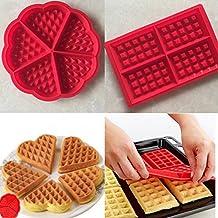 Silicona molde para gofres Waffle moho Ice Cube bandejas BPA libre formas Pastel Moldes para hornear