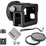 Gurmoir Aluminum Alloy Housing Frame Case With Back Door For Gopro Hero 6 Black Camera/Protective Metal Side Open Case Mount With Lens Cap And UV Filter
