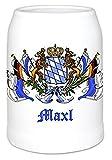 Bavariashop Bierkrug - boarisch seit - personalisiert mit Wunschnamen - 0.5 Liter - Individuell, Weiß