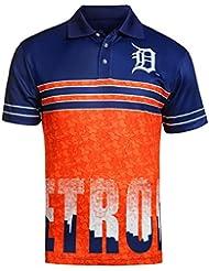 "Detroit Tigers MLB ""Wordmark Skyline"" Men's Sublimated Polo Shirt Chemise"