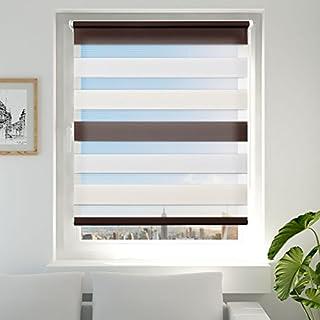 Achollo Double Store Enrouleur Jour Nuit pour Fenêtre & Porte – Montage Facile sans Perçage - Blanc Beige Brun 50 x 150 cm