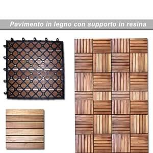 Pavimento in legno galleggiante per esterno su resina cm 30x30 pz 5