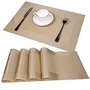 Famibay Place Mats Set Of 4 Pvc Non Slip Dining Room Table