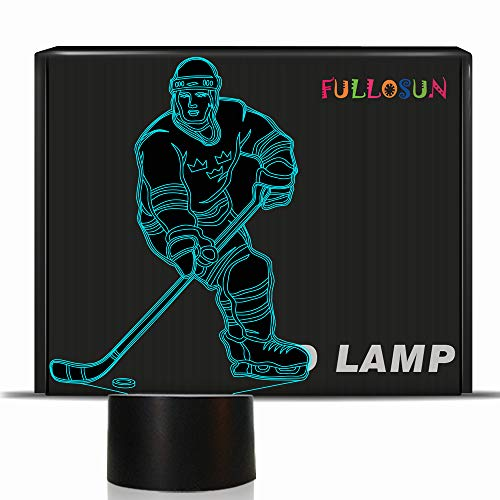 3D Illusion Eishockey Athlet Nachtlicht mit 7 Farben Ändern USB Power LED Nachttischlampe Dekoration Spielzeug Brithday Kind Kinder Geschenk