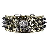Hundehalsband Halsbänder aus PU Leder, mit Totenkopf Schwarz Nieten, 5cm Breit 38-61cm Verstellbar, für Große / Maximale Hunde, Retro Cool Design mehr Farben wählbar, Goldbraun L