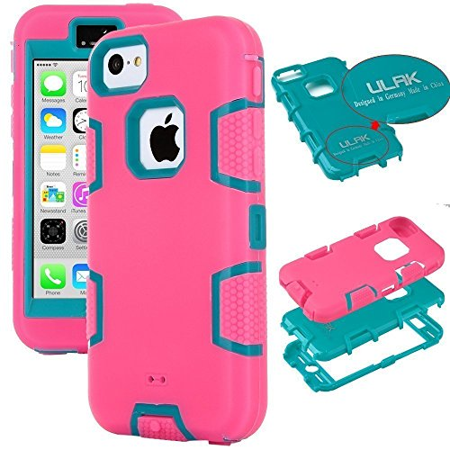 iPhone 5c Hülle, ULAK iPhone 5c Case 3in1 Stoßfest Hybrid High Impact Hart PC und Weiche Silikon Schutzhülle Tasche Case Cover für Apple iPhone 5c (Schwarz) Rose + Blau